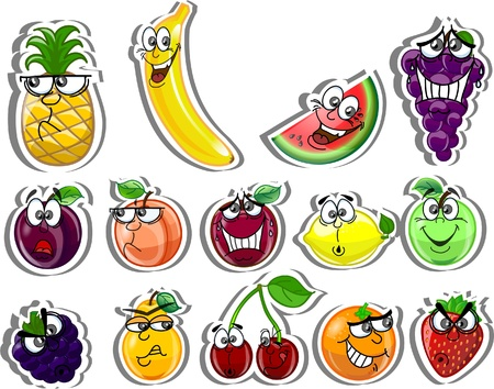 apple slice: Cartoon fruits