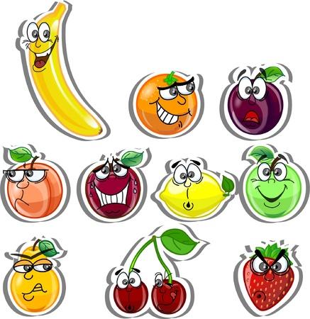 manzana caricatura: Frutos de dibujos animados