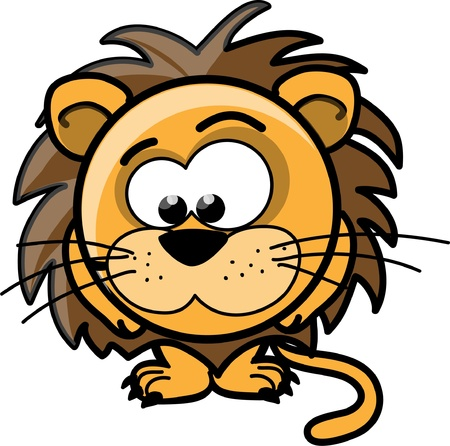 Cartoon cute lion, vector