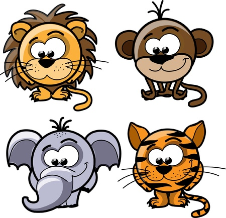 Cartoon cute animals, vector