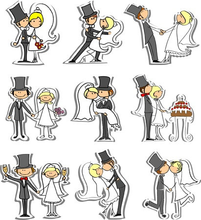 marriage cartoon: Set of wedding pictures, bride and groom in love Illustration