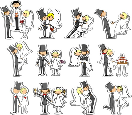 bride groom: Wedding pictures, bride and groom in love Illustration