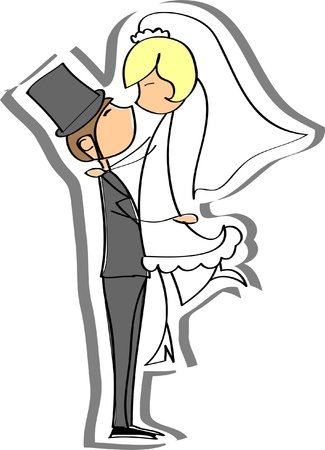 cartoon wedding couple: Wedding pictures, bride and groom in love Illustration