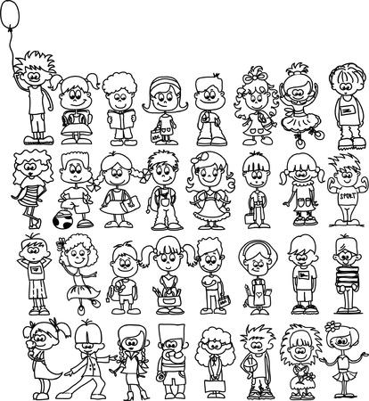 Cute happy cartoon children  Vector