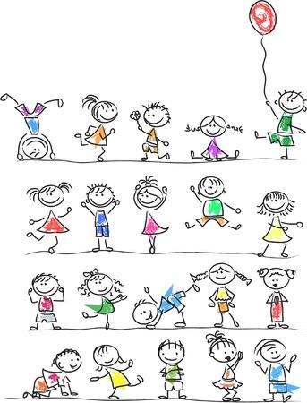 Enfants mignons de bande dessinée heureux