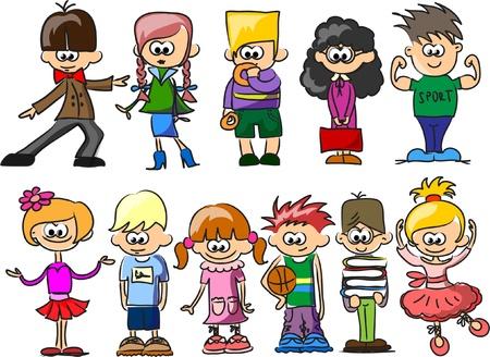 Cute happy cartoon kids  Иллюстрация