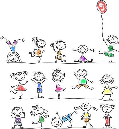 drawing board: Cute happy cartoon kids  Illustration