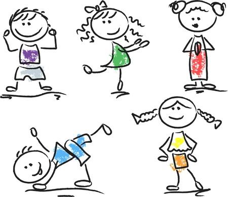 Cute happy cartoon kids  Stock Vector - 14598076