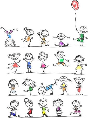 Cute happy cartoon kids Stock Vector - 14598082