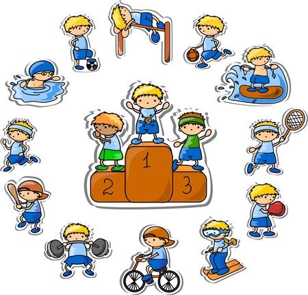 tabla de surf: Set de iconos vectoriales deporte dibujos animados