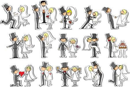 Wedding pictures, bride and groom in love Vector