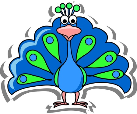 Cartoon peacock  Çizim