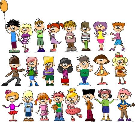 personas saludandose: Lindos dibujos animados los ni�os felices