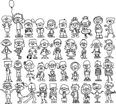 Cute happy cartoon kids  Illustration