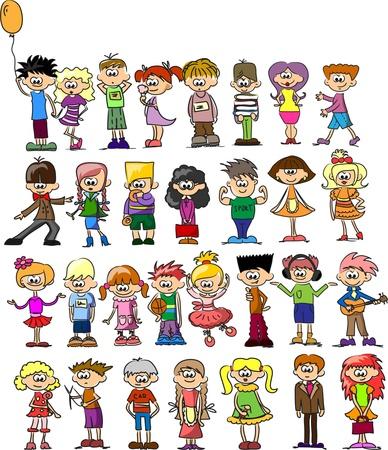 preschool child: Cute happy cartoon kids Illustration