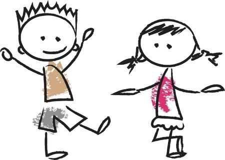 Cute happy cartoon kids Stock Vector - 14748714