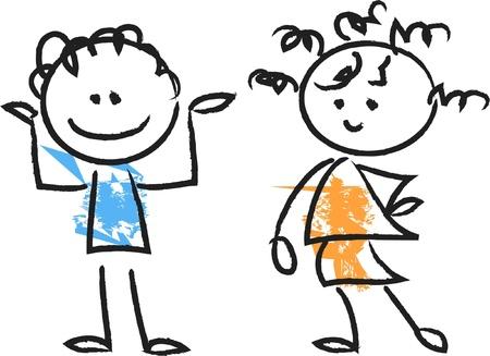 Cute happy cartoon kids  向量圖像