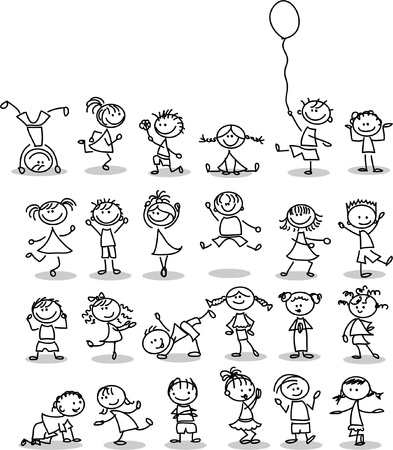 ethnicity happy: Cute happy cartoon kids  Illustration