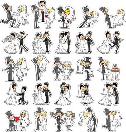 veil: Set of wedding pictures, bride and groom in love Illustration