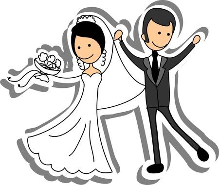 enamorados caricatura: Foto de la boda, la novia y el novio en el amor