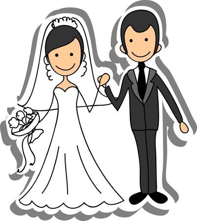 enamorados caricatura: Imagen de la boda, la novia y el novio en el amor