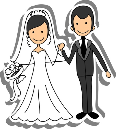 cartoon wedding: Wedding picture, bride and groom in love