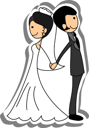 Wedding picture, bride and groom in love Stock Vector - 14742490