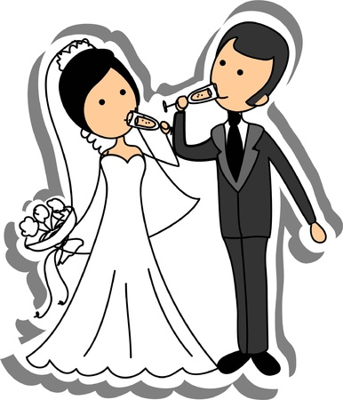 Wedding picture, bride and groom in love Vector Illustration