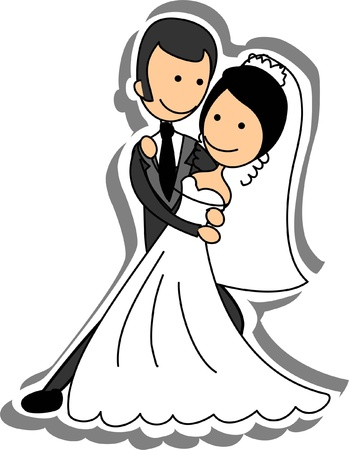 Wedding picture, bride and groom in love Stock Vector - 14742509