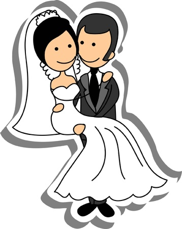 Wedding picture, bride and groom in love Stock Vector - 14742505