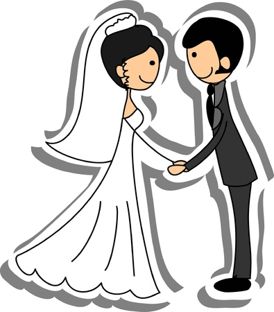 Wedding picture, bride and groom in love Stock Vector - 14742508