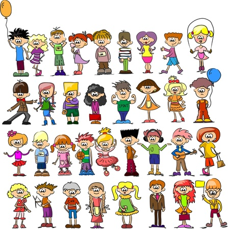 cool kids: Cute happy kids   Illustration