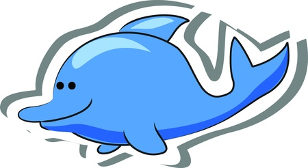 Cartoon dolphin  Vector