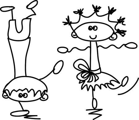 niños bailando: Lindos niños felices de la historieta Vectores