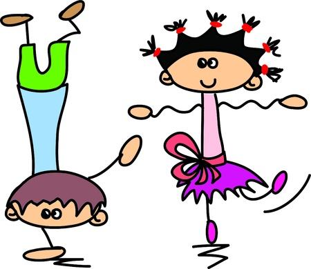 ragazze che ballano: Carino bambini cartone animato felice