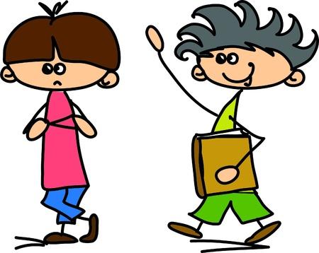 niño preescolar: Lindos niños felices de la historieta Vectores