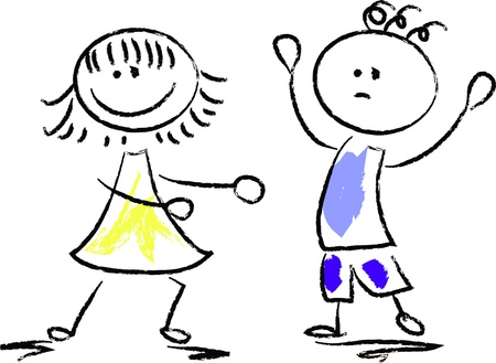 Mignons de dessin animé enfants heureux