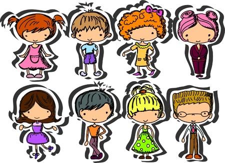 cartoon drawings of children vector