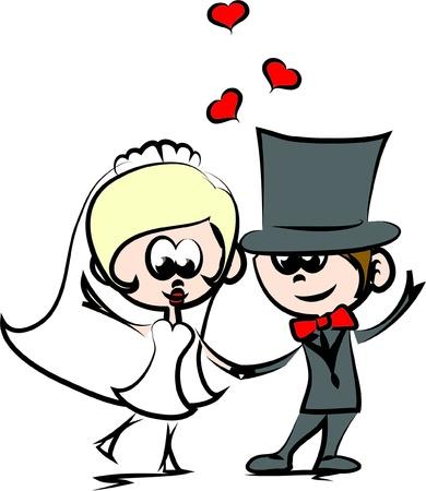 cylinder: Wedding cartoon bride and groom
