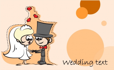 cartoon wedding couple: Wedding cartoon bride and groom