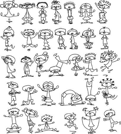 Cute happy cartoon kids  Vector