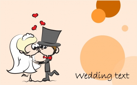 Wedding cartoon bride and groom  Stock Vector - 15393875