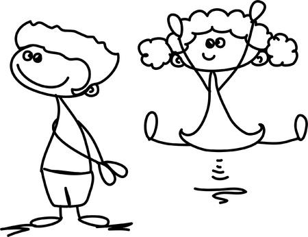 bebe a bordo: Lindos ni�os felices de la historieta Vectores