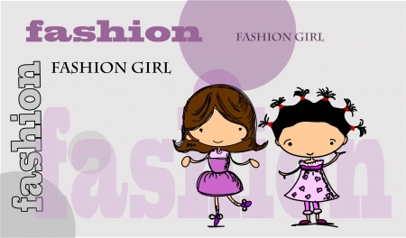 Cartoon fashionable girls  Stock Vector - 15551364