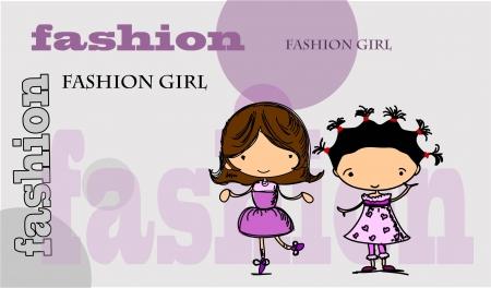 Cartoon fashionable girls Stock Vector - 15551364