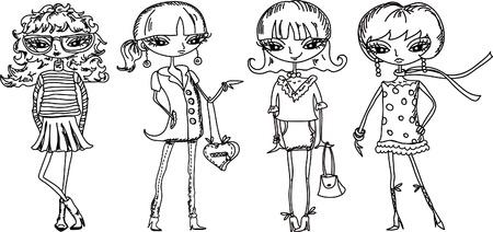 girl sketch: Cartoon fashionable girls  Illustration