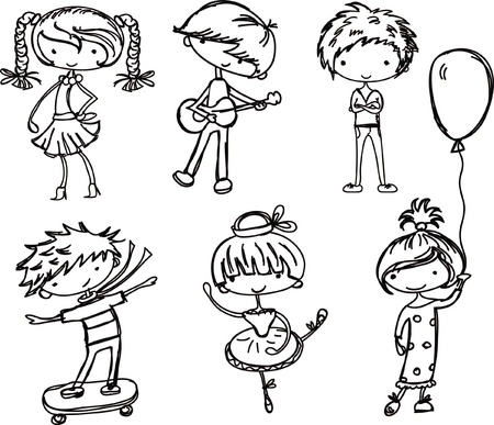 hair style set: Cartoon drawings of fashionable children