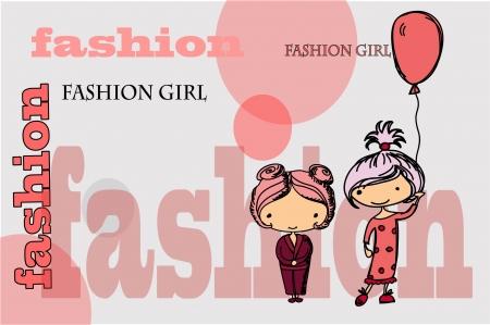 brown: Cartoon fashionable girls  Illustration