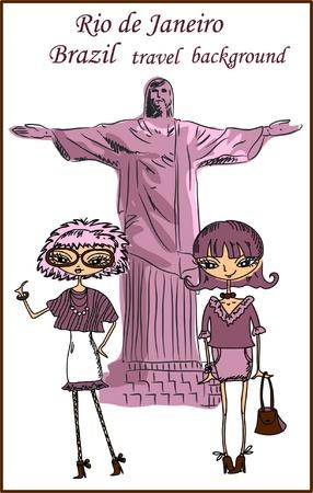 tower of pisa: Fashion Cartoon Girl travels the world