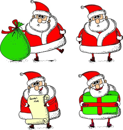 red beard: Cartoon Santa s